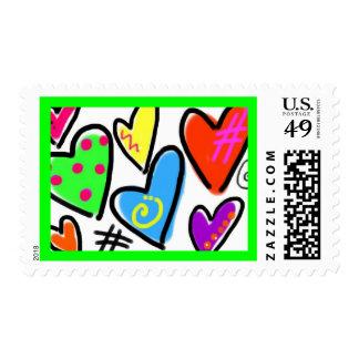 Grafitti Hearts Custom Postage Stamp