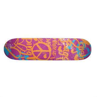 Grafitti Orange, Purple Damask Skateboard Deck