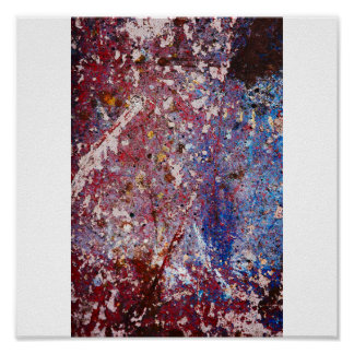 Grafitti Photography - Urban Rust White and Blue Poster