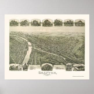 Grafton, mapa panorámico de WV - 1898 Póster