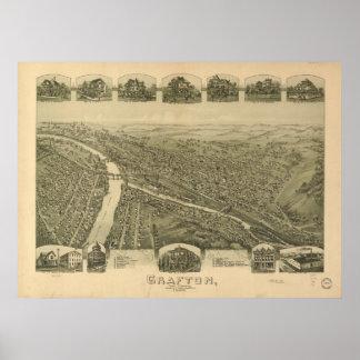 Grafton W. Virginia 1898 Antique Panoramic Map Poster