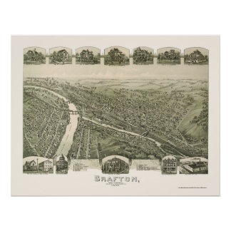 Grafton, WV Panoramic Map - 1898 Poster