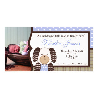 Graham Crackers Boy Blue Photo Birth Announcement Picture Card