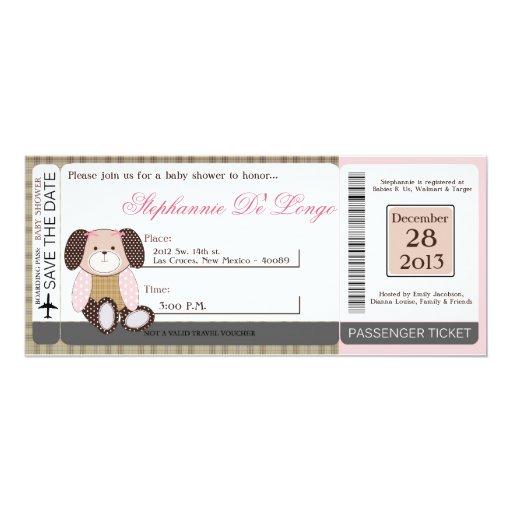 "Graham Crackers Girl Pink Baby Shower Invitation 4"" X 9.25"" Invitation Card"