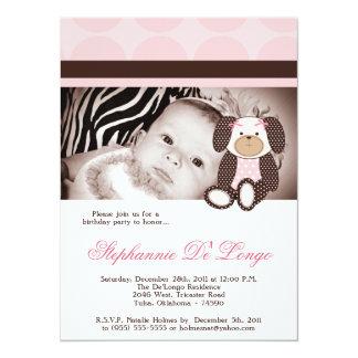 Graham Crackers Girl Pink Dog Birthday Invitation