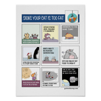 Graham Harrop - Signs Your Cat is Too Fat Poster