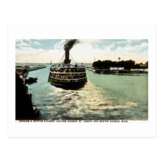 Graham & Morton (G&M Line) Steamer Leaving Harbor Postcard