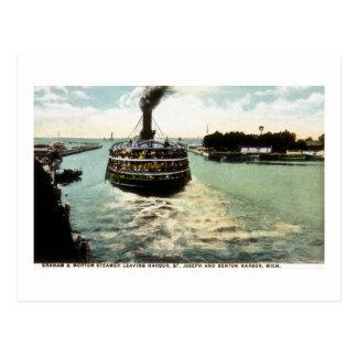 Graham & Morton (G&M Line) Steamer Leaving Harbor Postcard