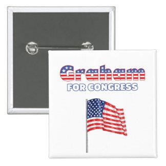Graham para la bandera americana patriótica del co pin cuadrada 5 cm