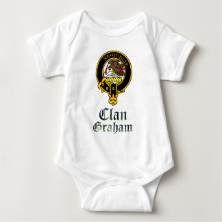 Graham scottish crest and tartan clan name baby bodysuit