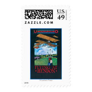 Grahame-White And Plane over Aerodrome Poster Postage Stamps
