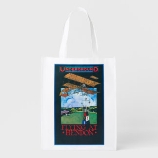 Grahame-White And Plane over Aerodrome Poster Reusable Grocery Bag