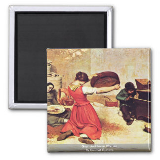 Grain And Seven Women By Courbet Gustave 2 Inch Square Magnet