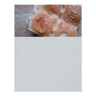 Grain Bread on Wooden Shelf, Healthy Food, Rolls Letterhead