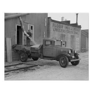 Grain Delivery Truck, 1936. Vintage Photo Poster