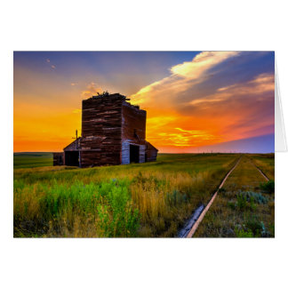 Grain Elevator and Railroad Tracks Card