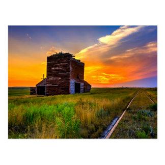 Grain Elevator and Railroad Tracks Postcard