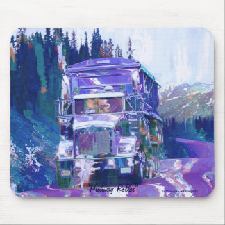 Grain Hauling Truck Highway Driving Art Mousepad