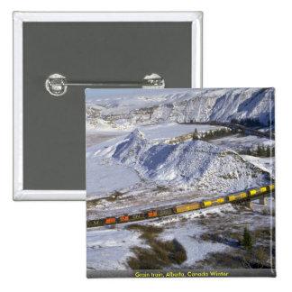 Grain train, Alberta, Canada Winter Pinback Button