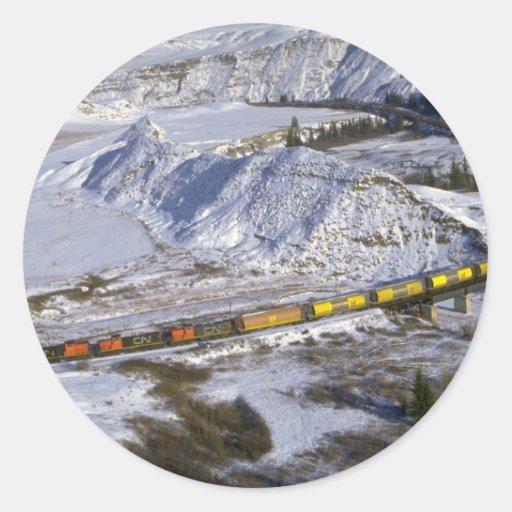 Grain train, Alberta, Canada Winter Classic Round Sticker