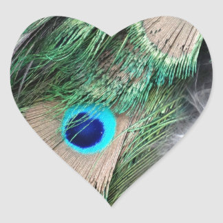 Grain Wheat Green Peacock Eyes Heart Sticker