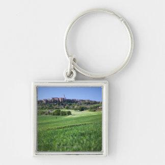 grainfield defocused con en el pienza, Toscana, Llavero Cuadrado Plateado
