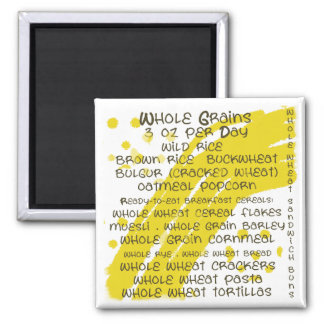 grains - eat healthy 2 inch square magnet