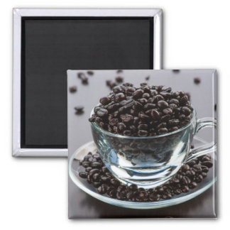 Grains of coffee in cup crystal.  Magnet