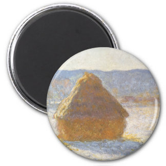 Grainstack in Morning by Claude Monet, Vintage Art 2 Inch Round Magnet