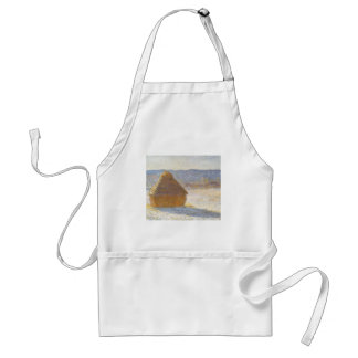Grainstack in Morning, Snow Effect by Claude Monet Adult Apron