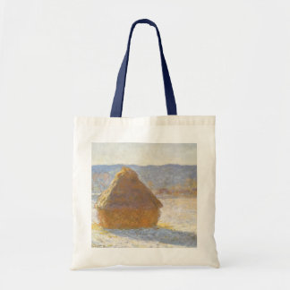 Grainstack in Morning, Snow Effect by Claude Monet Budget Tote Bag