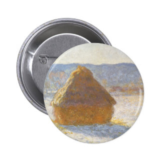 Grainstack in Morning, Snow Effect by Claude Monet 2 Inch Round Button