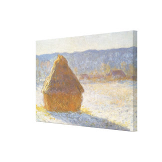 Grainstack in Morning, Snow Effect by Claude Monet Canvas Print