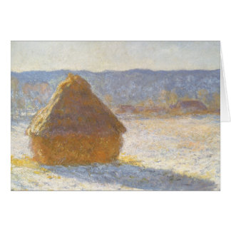 Grainstack in Morning, Snow Effect by Claude Monet Greeting Card