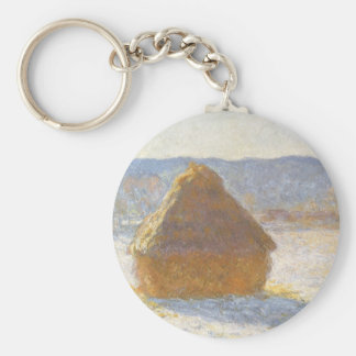 Grainstack in Morning, Snow Effect by Claude Monet Basic Round Button Keychain