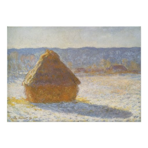Grainstack in Morning, Snow Effect by Claude Monet Poster