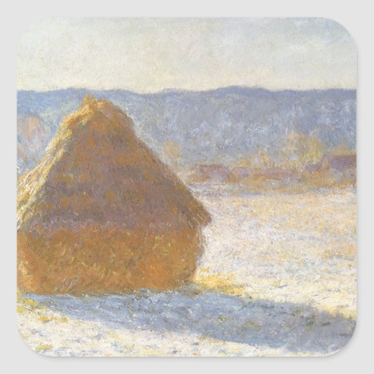 Grainstack in Morning, Snow Effect by Claude Monet Square Sticker