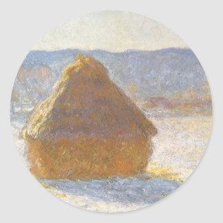 Grainstack in Morning, Snow Effect by Claude Monet Classic Round Sticker