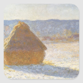 Grainstack in Morning, Snow Effect by Claude Monet Sticker