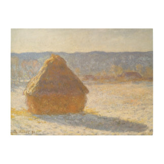 Grainstack in Morning, Snow Effect by Claude Monet Wood Wall Art