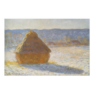 Grainstack in Morning, Snow Effect by Claude Monet Perfect Poster