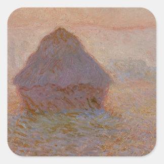 Grainstack, Sun en la niebla, 1891 (aceite en Colcomanias Cuadradas Personalizadas