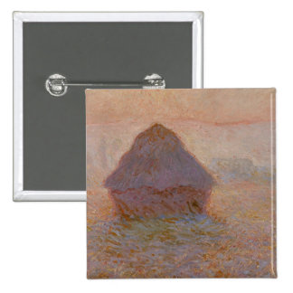 Grainstack, Sun in the Mist, 1891 (oil on canvas) 2 Inch Square Button