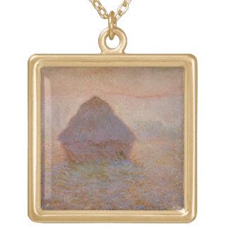 Grainstack, Sun in the Mist, 1891 (oil on canvas) Square Pendant Necklace