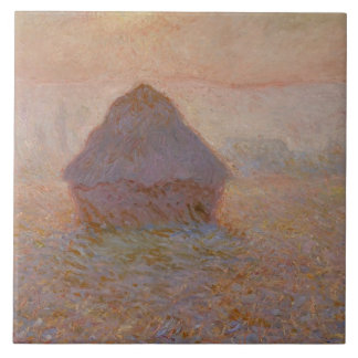 Grainstack, Sun in the Mist, 1891 (oil on canvas) Large Square Tile