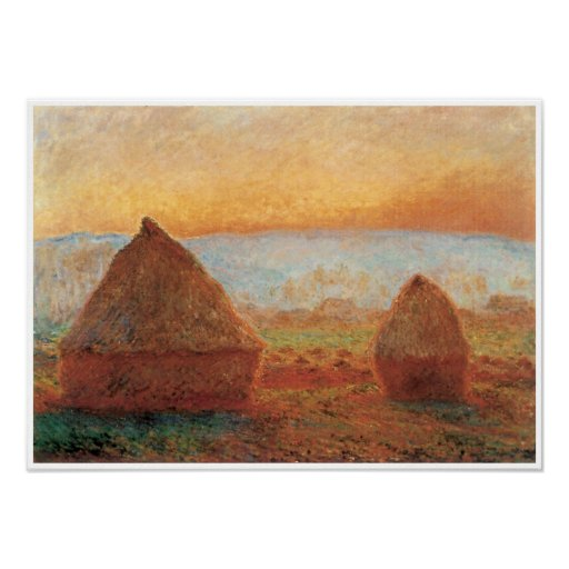 Grainstacks at Giverny, Sunset, 1888-89 Posters