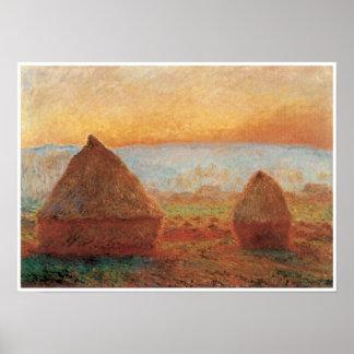Grainstacks en Giverny, puesta del sol, 1888-89 Póster