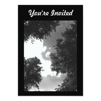 Grainy Black and White image of Trees and Sky. 5x7 Paper Invitation Card