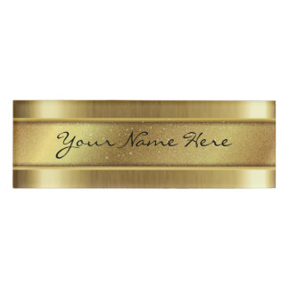 Grainy Golden Texture with Glitter Name Strip Name Tag