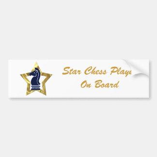 Grajo de la estrella del oro del ajedrez pegatina para auto